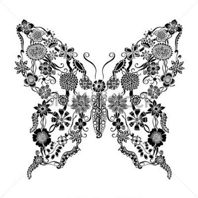 Наклейка Декоративная богато украшенная бабочка из цветочного каракули, монохромная. Элементы растительного орнамента для дизайна альбома, приглашения или открытки.
