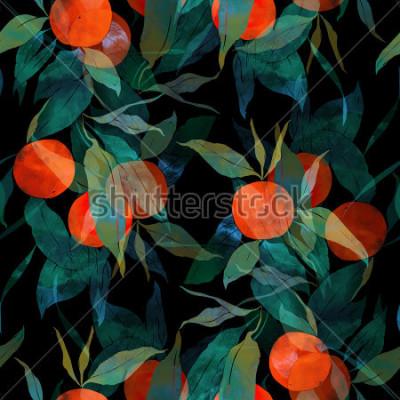 Наклейка Отпечатки субтропического мандаринового дерева с плодами и листьями. ручная роспись бесшовные модели. цифровая и акварель. фон для текстильного декора и дизайна. обои на стену. смешанная рамка