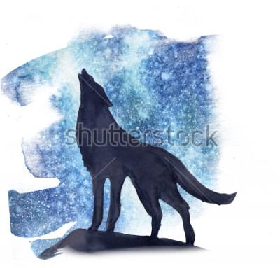 Наклейка Силуэт волка на фоне северного сияния акварелью. Северное сияние