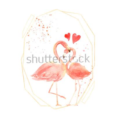 Наклейка Живут коралловые фламинго в любви. Акварель с Днем Святого Валентина открытки. Нарисованный от руки. розовый