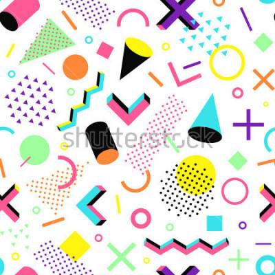 Наклейка Узор в стиле 90-х. Геометрические бесшовные векторные шаблоны в стиле Мемфис