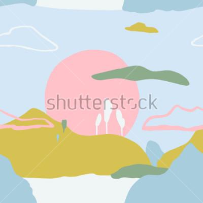 Наклейка Абстрактная картина с заходом солнца в горах. Художественная современная природа бесшовных текстур. Готовые дизайнерские идеи, плакаты, приглашения, плакаты, брошюры, флаера, през