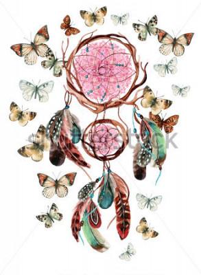 Наклейка Ловец снов с перьями и мандалы. Акварель этнических Ловец снов и бабочка, обитающие на белом фоне. Ручная роспись иллюстрации для вашего дизайна