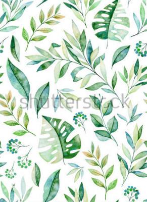 Наклейка Акварель оставляет филиал бесшовный узор на белом фоне. Тропические листья, листва. Идеально подходит для свадьбы, дизайн обложки, обои, узоры, упаковка и т. Д.