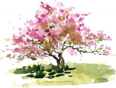 Наклейка Черри Блоссом рисунок акварелью, акварельный эскиз цветущих яблоневых цветов