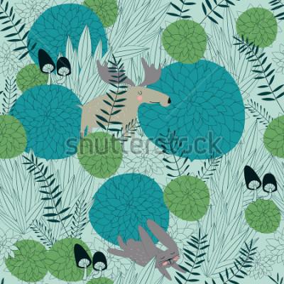 Наклейка Бесшовный лесной фон с милыми лесными растениями, лосем, зайцами и грибами в мультяшном стиле.