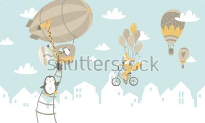 Наклейка Детская графическая иллюстрация. Использование для печати на стене, подушек, украшений детского интерьера, детской одежды и рубашек, поздравительных открыток, векторных и других