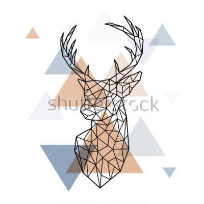 Наклейка Геометрическая голова скандинавского оленя. Полигональный стиль. Скандинавский стиль