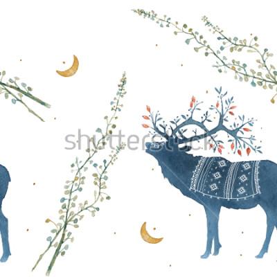 Наклейка Акварель бесшовный паттерн с скандинавских элементов ветвей, травинки.