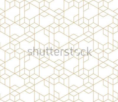 Наклейка Абстрактный геометрический рисунок с пересечением тонких золотых линий на белом фоне. Бесшовные линейные отношения. Стильная фрактальная текстура. Векторная модель для заливки фонарей, лазерная гравир