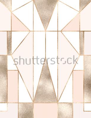 Наклейка Арт-деко фон с золотой блеск геометрических фигур, треугольников, прямоугольников, линий, квадратов.