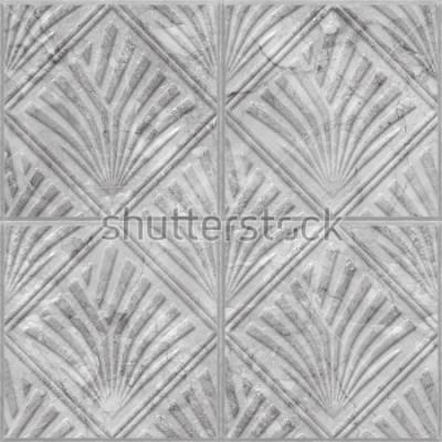 Наклейка Геометрический рисунок на керамической и мраморной плитке бесшовных текстур, 3d иллюстрации
