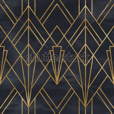 Наклейка Бесшовные геометрический рисунок на текстуру бумаги. Арт-деко фон