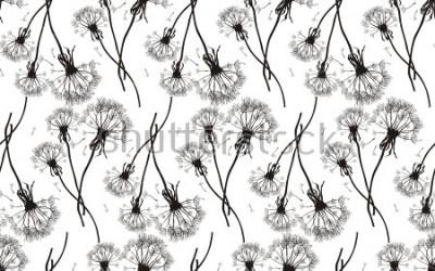 Наклейка Бесшовные текстуры черных одуванчиков