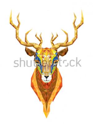 Наклейка Голова оленя низкополигональная геометрический узор вектор eps10