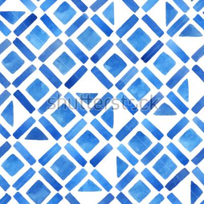 Наклейка Абстрактная акварель геометрическая плитка. Безшовная картина в сини