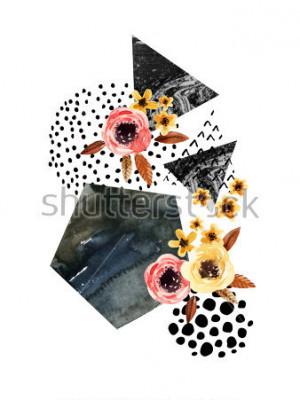 Наклейка Осенний фон: падающие листья, цветы, геометрические элементы. Акварельные иллюстрации с листьями, треугольниками, мрамором, акварелью, каракули текстуры для дизайна осенью. Ручная роспись акварелью