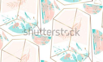 Наклейка Абстрактная художественная картина с кристаллическими террариумом и завтрак-обед в цветах золота, пастели и тиффани