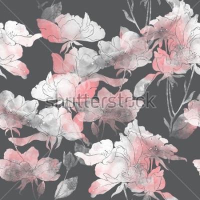Наклейка Отпечатки цветов и листьев шиповника. ручная роспись бесшовные модели. цифровой рисунок и акварель текстуры. фон для текстильного декора и дизайна. ботанические обои. смешанная техника цветочная рамка