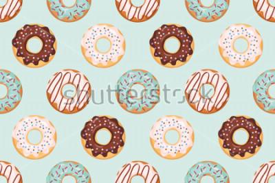 Наклейка Бесшовный фон с глазурованными пончиками. Синий и шоколадный цвета. Девчушки. Для печати и Интернета.