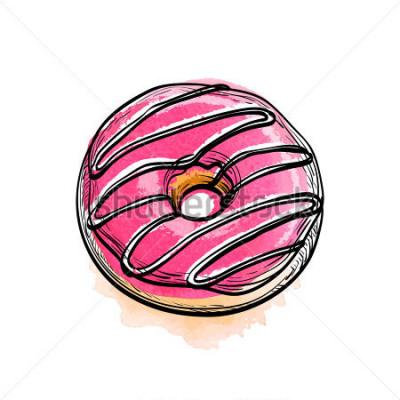Наклейка Ручной обращается векторная иллюстрация пончик.