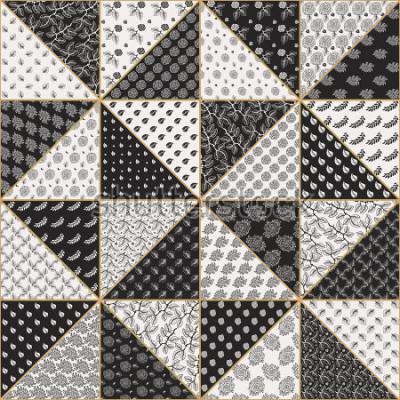 Наклейка Вектор абстрактный бесшовные модели лоскутное из черного и светло бежевого треугольников с кружевными цветочными орнаментами, стилизованными розовыми цветами и листьями. Золотой контур тонкой линии. Т