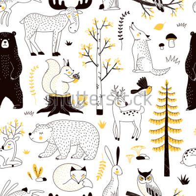 Наклейка осенний лес