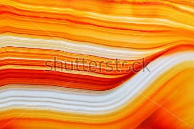 Наклейка Поперечное сечение поверхности кристалла из натурального полупрозрачного агата, крупный план макроса камня минерала абстрактной структуры апельсина