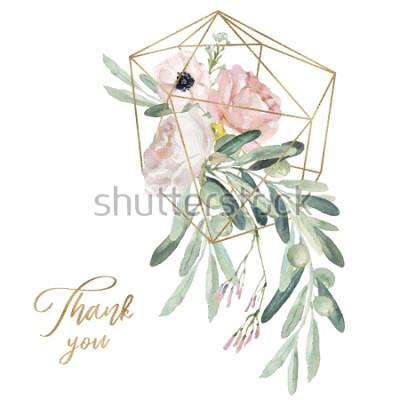 Наклейка Иллюстрация акварели olea флористическая - оливковая ветка, краснеет букет цветка с геометрической формой золота, для wedding неподвижного, приветствия, обои, мода, предпосылка.
