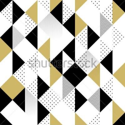 Наклейка Абстрактные бесшовные модели. Бесшовные с треугольниками. Золотой черно-белый треугольник узор. Векторная иллюстрация