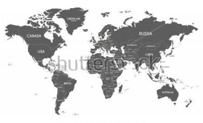 Наклейка Политическая карта мира векторные иллюстрации на белом фоне.