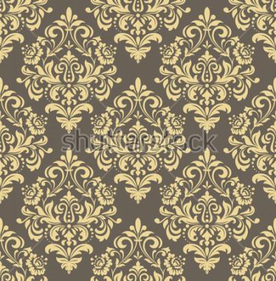 Наклейка Обои в стиле барокко. Бесшовный фон Золотой и серый цветочный орнамент. Графический рисунок для ткани, обоев, упаковки. Изысканный дамасский цветочный орнамент