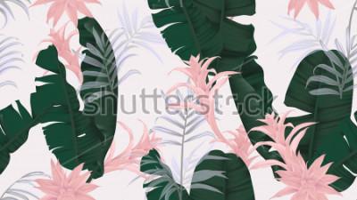 Наклейка Бесшовный цветочный узор, зеленые банановые листья, розовое растение бромелиевые и пальмовые листья на светло-сером фоне, пастельная винтажная тема