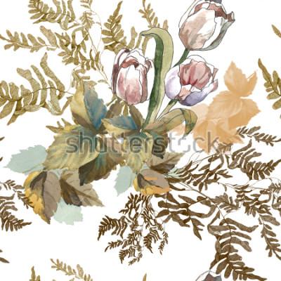 Наклейка 3 белых тюльпана и трава акварель на белом фоне бесшовные модели для тканей, бумаги