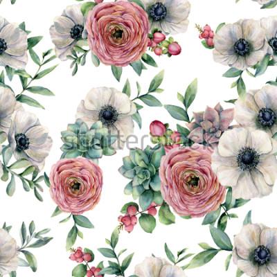 Наклейка Акварель бесшовные модели с сочными, лютик, анемон. Ручная роспись цветы, листья эвкалипта и сочные ветви, изолированные на белом фоне. Иллюстрационная для дизайна, печати или фона