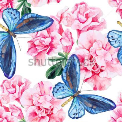 Наклейка Розовая азалия и голубые бабочки. Бесшовные, ручная роспись, акварель. Векторный фон