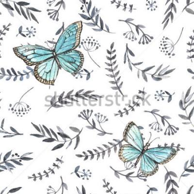 Наклейка Монохромный акварель цветочные бесшовные с бабочками. Ручная роспись. Акварель. Бесшовные шаблон для ткани, бумаги и других полиграфических и веб-проектов.