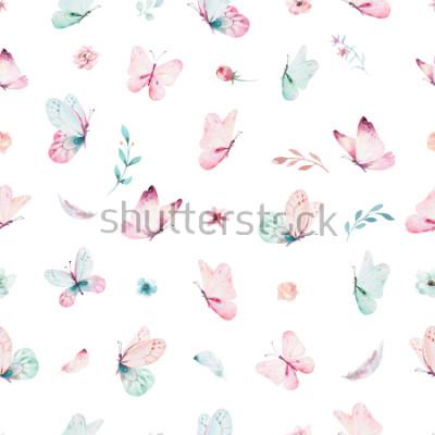 Наклейка Милый акварельный единорог бесшовный фон с цветами. Питомник волшебный узор единорога. Принцесса Радуга текстуры. Модный розовый мультфильм пони лошадь.