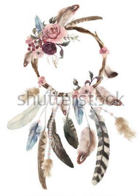 Наклейка Изолированное акварельное украшение богемный ловец снов, богемное украшение перьев, шикарный дизайн местных снов, мистический этнический племенной принт, дизайн американской культуры, цыганский орнаме
