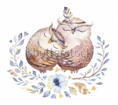 Наклейка Я люблю тебя. Прекрасная акварельная иллюстрация со сладкими совами, сердцами и цветами в удивительных цветах. Потрясающая романтическая открытка на день Святого Валентина в технике акварели. Яркий Ва