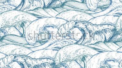 Наклейка Бесшовные с рисованной морских волн в стиле эскиза. Вектор бесконечный фон в голубых тонах.