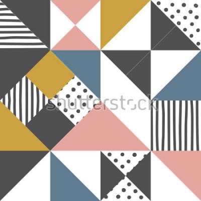 Наклейка Геометрический рисунок. Абстрактная предпосылка треугольника с иллюстрацией вектора нарисованной рукой нашивки и точки польки.