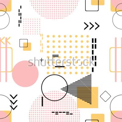 Наклейка Модный бесшовные, Мемфис стиль с геометрическим рисунком, векторная иллюстрация с геометрическими фигурами. Дизайн стола для приглашения, брошюры и продвижение шаблона.