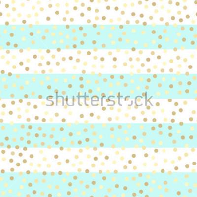 Наклейка Золотые блестящие капли на бирюзовых и белых полосах. Безшовная картина вектора на striped предпосылке мяты и золота. Блестящие праздники фон. Узор золотой блеск. Золотая металлическая фольга фон.