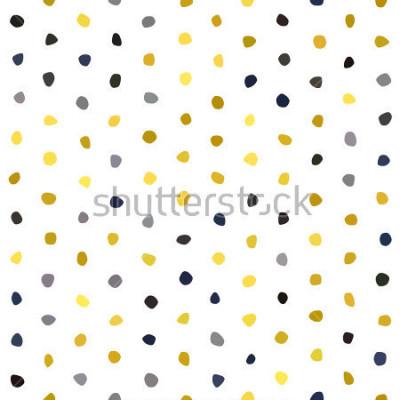 Наклейка Желтый серый темно-синий горчичный горошек бесшовный узор на белом фоне. Круглая текстура камня многоугольника. Абстрактный вектор для гравюр, текстиля, упаковки, ткани, упаковки, обложки, открытки