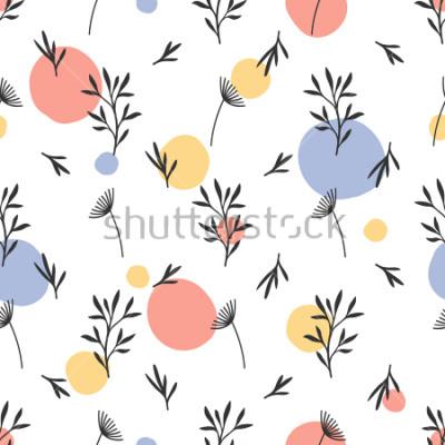Наклейка Бесшовный цветочный узор. Плоский ботанический орнамент с элементами природы handdrawn & точек. Простая повторяющаяся текстура. Современный оригинальный текстиль, оберточная бумага, дизайн интерье