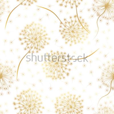Наклейка Бесшовный фон с цветами одуванчика. Векторная иллюстрация