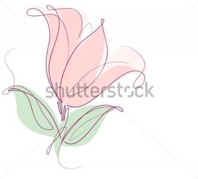 Наклейка Рисование векторной графики с цветочными узорами с тюльпанами для дизайна. Цветочный цветочный натуральный дизайн. Графический, эскизный рисунок. тюльпан.