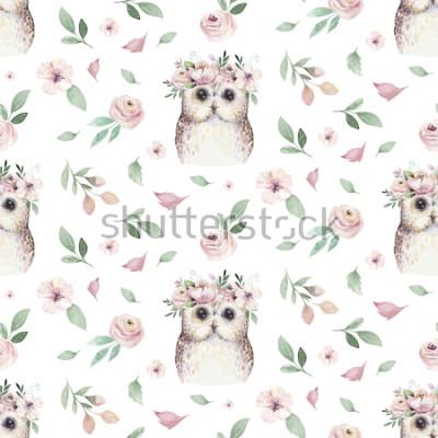 Наклейка Акварель Бесшовные ручной иллюстрированный цветочный узор с цветочными листьями, розовыми цветами и маленькая сова ребенка. Акварель бохо весенние обои ботанический фон текстиль