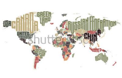 Наклейка Карта мира из типографских названий стран. Векторная иллюстрация